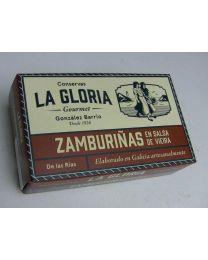 Ebakammkarbid I Zamburiñas en salsa de vieira